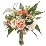 "11"" Rose & Skimmia Silk Flower Bouquet -Peach/Coral (Pack of 4)"