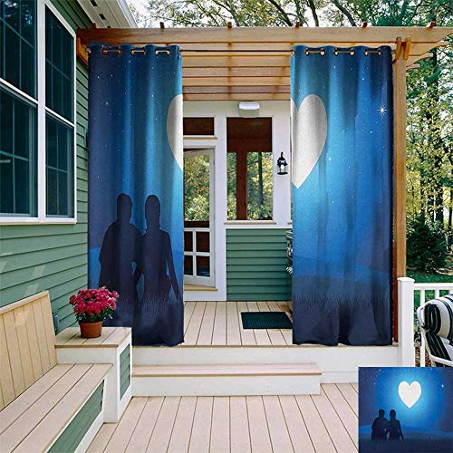 leinuoyi Romantic, Outdoor Curtain of Lights, Silhouette of a Couple Sitting in Front of Heart Shaped Moon Night Out, Fabric by The Yard W84 x L96 Inch Night Blue Black White ()