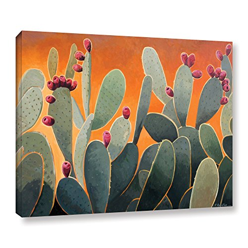 ArtWall Cactus Orange Gallery Wrapped Canvas Art by Rick Kersten, 36 by 48-Inch