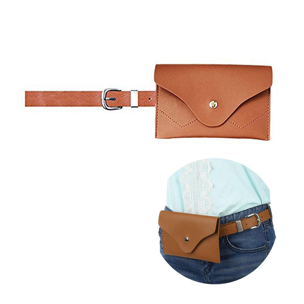 VITORIA'S GIFT Womens leather fanny pack, removable Belt with MINI Purse Travel Cell Phone(not more than 5 inch) Bag