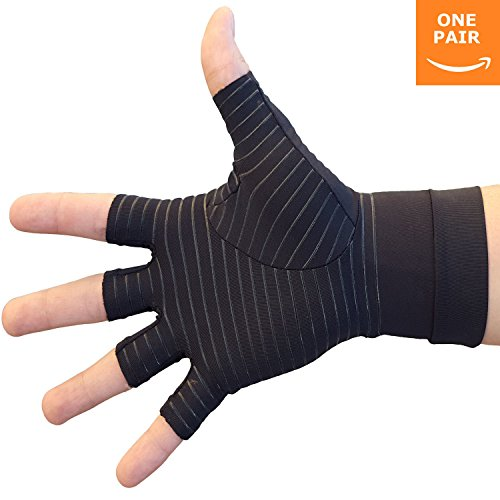 Hand Pain Relief Gloves - Copper Compression Gives Relief Rheumatoid Arthritis , Carpal Tunnel , Osteoarthritis , Trigger Finger , Joint Pain and Work, Sports, or Arthritis Pain (Pair) (Medium) by HealthMaxx