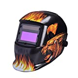 Nuzamas Solar Powered Auto Darkening Welding Helmet Mask Weld Face Protection for Arc Tig Mig Grinding Plasma Cutting with Adjustable Shade Range DIN4/9-13 UV/IV protection DIN16 Leopard and Fire