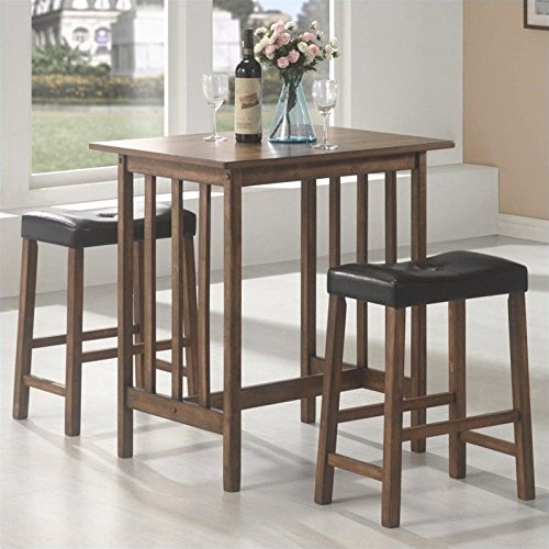 3pc Breakfast Table and Stools Set in Nut Brown (And Breakfast Table Bar Stools Set)