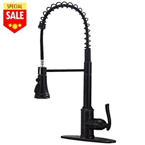 VESLA HOME Commercial Single Handle Pull Down Sprayer Oil Rubbed Bronze Kitchen Faucet, Kitchen Faucet Bronzed With Deck Plate