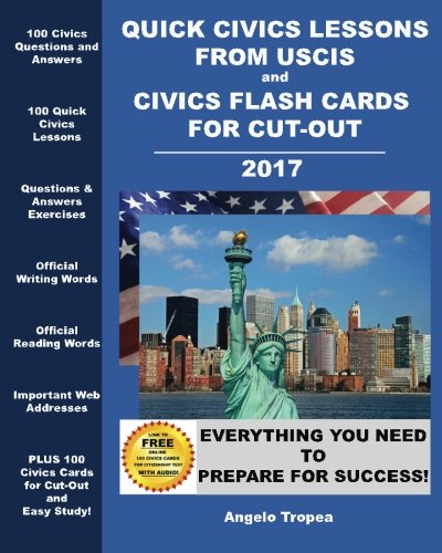 Quick Civics Lessons from USCIS and Civics Flash Cards for Cut-Out