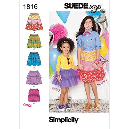 Simplicity Suedesays Collection 1816 Childs and Girls Skirts Sewing Pattern, Size K5 - Preppy Uk