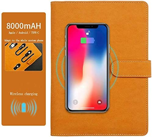 WZJN A5 Dokumentenmappe, Tablet-Tasche, Brieftaschenhalter, Tagebuchhalter und Notizblockhalter mit kabellosem Laden und 8000 mAh mobiler Stromversorgung