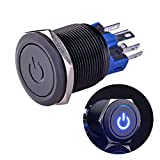 """Ulincos Latching Push Button Switch U22A4 1NO1NC SPDT ON/OFF Black Metal Shell with Blue LED Suitable for 22mm 7/8"""" Mounting Hole(Blue)"""