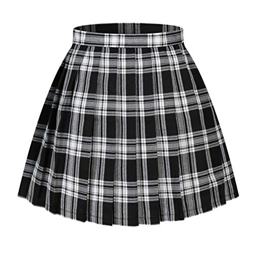 Women`s Scottish Checkered Pleated Cosplay Costumes Skirts (S,Black white)