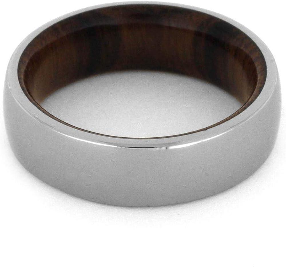 6mm Wood Wedding Band Jewelry By Johan Ironwood Ring with Titanium Overlay