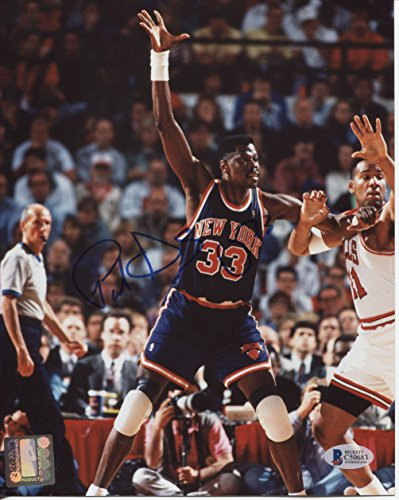 Patrick Ewing AUTO Autographed New York Knicks 8x10 Picture Photo BAS Beckett Authentication Services vs Chicago Bulls (circa 1992) ()
