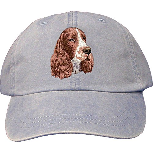 Cherrybrook Dog Breed Embroidered Adams Cotton Twill Caps - Periwinkle - English Springer Spaniel (Embroidered Spaniel Hat)