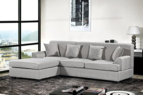 Oliver Smith – Large Light Grey Linen Cloth Modern Contemporary Upholstered Quality Sectional Left or Right Adjustable Sectional 92″ x 65″ x 32.5″