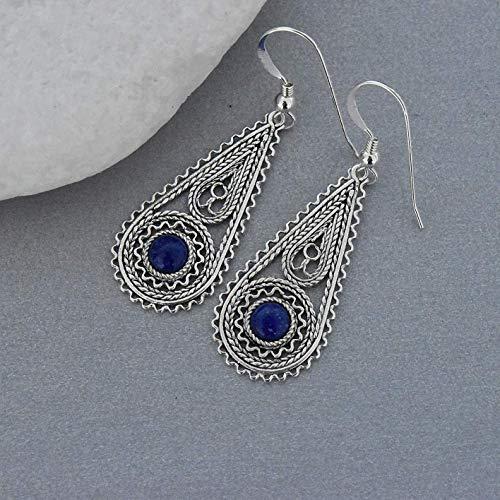 Sterling silver lapis lazuli earrings, Filigree earrings, Yemenite earrings, Drop earrings, Gift for her, Israeli jewelry
