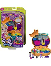 Polly Pocket Corgi Cuddles Compact with Pet Hotel Theme, Micro Polly & Shani Dolls, 2 Dog Figures (Poodle with Hair & Husky) Fun Features & Surprise Reveals, Great Gift for Ages 4 Years Old & Up