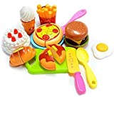 Zaid Collections 14 Pcs Realistic Sliceable Cutting Fast Food Kitchen Set Toy with Various Items Like Pizza, Burger, Prawn, Crab & Many More, Knife, Spoon, Fork for Kids,Multi Color.