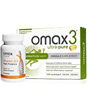 Omax3 Ultra Pure Omega 3 Fish Oil Supplements + High-Potency Vitamin D3 5,000 IU (30-Day Supply)