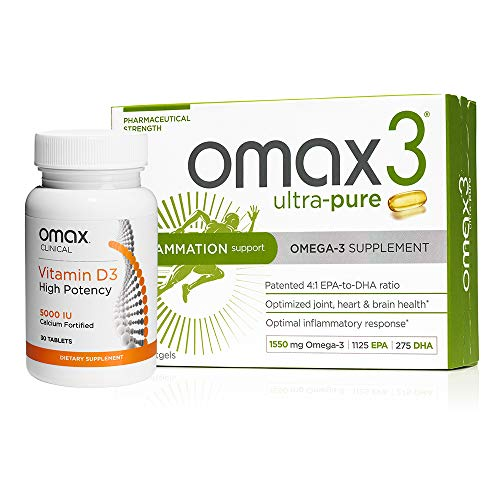 (Omax3 Ultra Pure Omega 3 Fish Oil Supplements + High-Potency Vitamin D3 5,000 IU (30-Day Supply) )