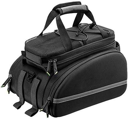 自転車バッグ 反射自転車ラックバッグトランクバッグ自転車リアシートカーゴバッグリアパックボトルホルダー付き高品質防水 取り付け簡単 (Color : Black, Size : 33x22cm)