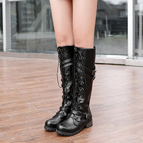 Lastnight Women Fashion Knee High Lace Up Rivet Buckle Decor Boot Shoes BlackR knA57o