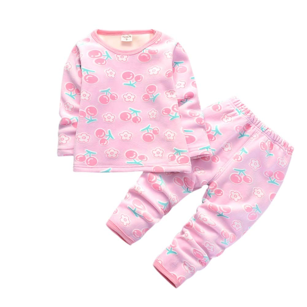 BOBORA Baby Girl Boy Winter 2PCs Sleepwear Pyjamas Set Cute Cartoon Motif Underwear Set with Fleece for 0-4Years BO-UK1047