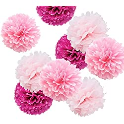 Fonder Mols 9pcs Mixed Sizes 8'' 10'' 14'' Party Crafts Tissue Paper Pom Poms Flowers Kit - Light Pink, Pink & Fuchsia