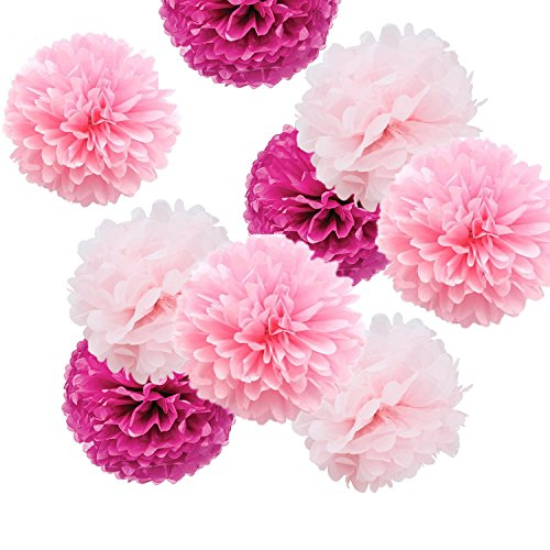 Fonder Mols 9pcs Party Flowers Pom Poms Kit - Light Pink, Pink & Fuchsia - Large for Valentine's Day Wedding Birthday Party Decoration ()
