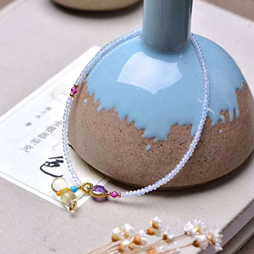 - TKHNE Natural stone surface protein Foot Chain anklet ankle chain Citrine necklace pendant exquisite gourd girls summer models