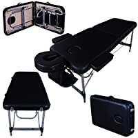 "Massage Imperial Ultra Lightweight Professional Knightsbridge Aluminium 10Kg Black 2-Section Portable Massage Table Couch Bed Spa With 5cm/2"" High Density Foam"