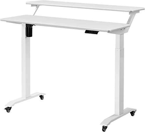 UNICOO – Electric Height Adjustable Standing Desk, Electric Standing Workstation Home Office Sit Stand Up Desk with 4 Pre-Set Memory Led Display Controller White Top White Leg- Electric-2 Tier