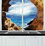 Images of Kitchen Window Curtains Ambesonne Kitchen Decor Collection, Ocean View Through Cave Skyline and Clouds Waves Nautical Sea Marine Home Decor Image Art, Window Treatments for Kitchen Curtains 2 Panels, 55X39 Inches, Brown Blue