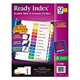 Avery Ready Index Table of Contents Dividers, 12-Tab, Multi-Color, 6 Sets (11196)