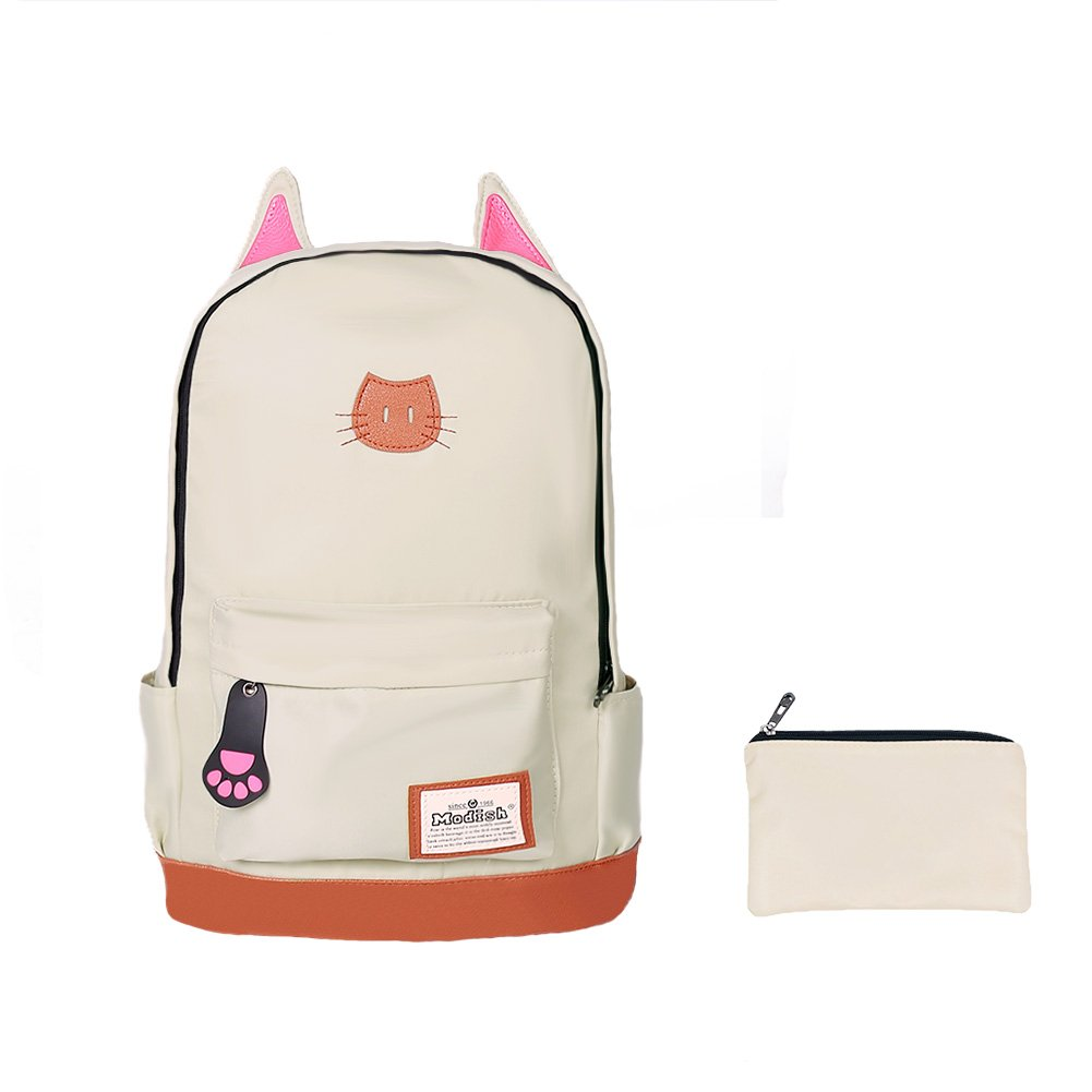 Moolecole Lightweight Kids School Backpack Large Capacity School Bag Rucksack with Cat's Ears Design set with 1pc Wallet (Beige)