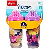 Playtex Baby Sipsters Spill-Proof Kids Straw Cups, Stage 3 (12+ Months), Pack of 2 Cups