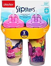 Playtex Baby Sipsters Spill-Proof Kids Straw Cups, Stage 3 (12+ Months), Pack of 2 Cups (Styles May Vary)