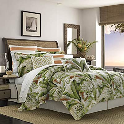 Tommy Bahama Palmiers Comforter Set, California King, Medium Green - 100Percent Cotton sateen Machine wash, cold, do not bleach, tumble dry, gentle, low heat, iron, low Set includes: 1 comforter, 1 bed skirt and 2 shams - comforter-sets, bedroom-sheets-comforters, bedroom - 51edHLSZfWL. SS400  -
