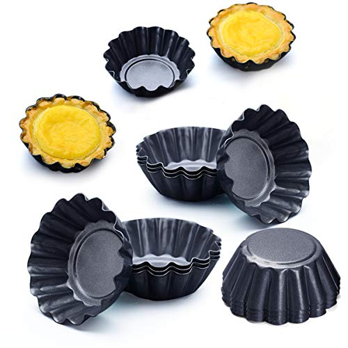 (Amytalk 12 Packs Egg Tart Mold, Size 2.6 x 0.9inch, Cupcake Cake Muffin Mold Tin Pan Baking Tool, Carbon Steel)