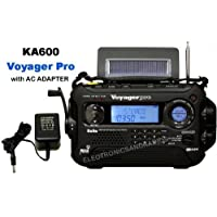 KA600 BLACK Solar/Crank AM/FM/SW NOAA Weather Radio, BONUS AC adapter/charger, 5-LED reading lamp, 3-LED flashlight, thermometer & humidity meter (Kaito) by ER-RADIO
