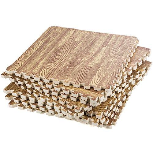 Interlocking Foam Mats – Interlocking Floor Mats Wood Grain – Puzzle Floor Mat - Foam Floor Tiles Wood Grain , Anti-Fatigue , Premium Foam Mat , Light Wood Grain with Borders