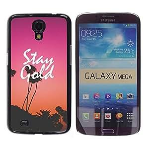 YOYOYO Smartphone Protección Defender Duro Negro Funda Imagen Diseño Carcasa Tapa Case Skin Cover Para Samsung Galaxy Mega 6.3 I9200 SGH-i527 - permanecer oro púrpura atardecer los Angeles