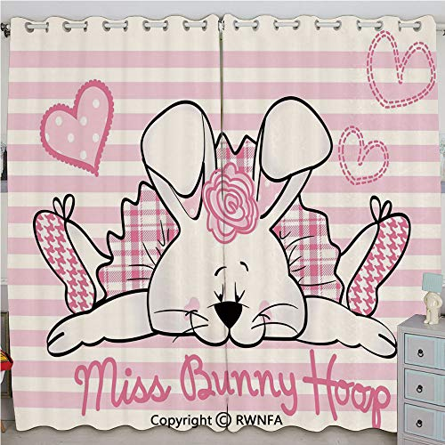 (Justin Harve window Miss Bunny Hoop in Love Romantic Cute Rabbit Valentines Day in Hearts Artwork Custom Blackout Curtains Set of 2 Panels(100