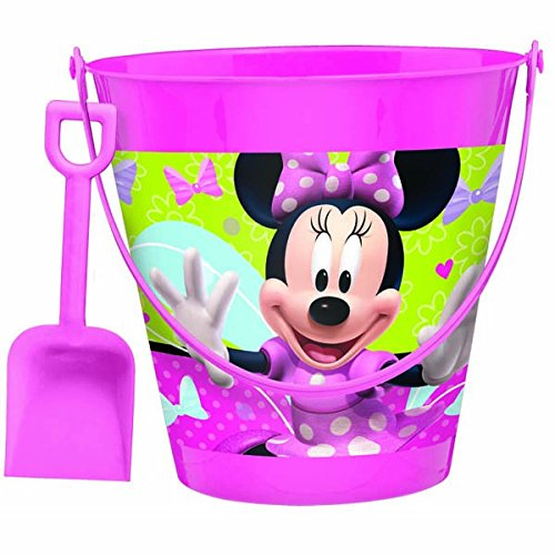 Disney Minnie Mouse Pail with Shovel Birthday Party Favour and Prize Giveaway (1 Piece), Pink, 7 1/4