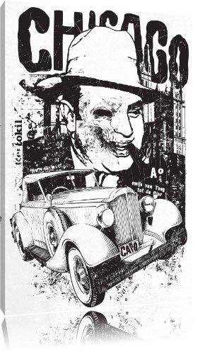 Chicago white Bild auf Leinwand, XXL riesige Bilder fertig gerahmt mit Keilrahmen, Kunstdruck auf Wandbild mit Rahmen, gänstiger als Gemälde oder Ölbild, kein Poster oder Plakat