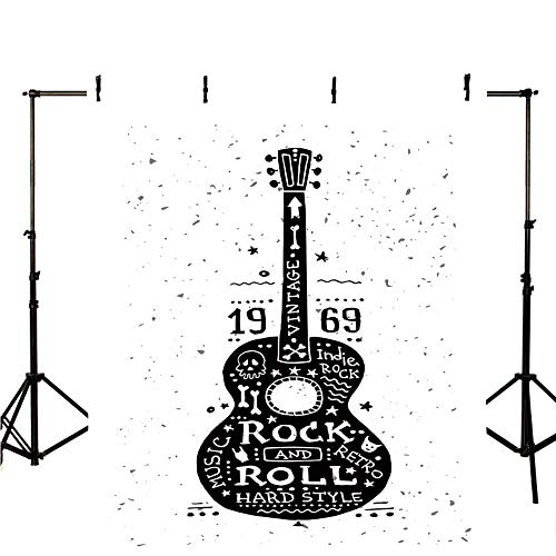 (Guitar Stylish Backdrop,Hand Drawn Style Instrument with Grunge Look and Retro Design Rock and Roll Theme Decorative for Photography,39.3