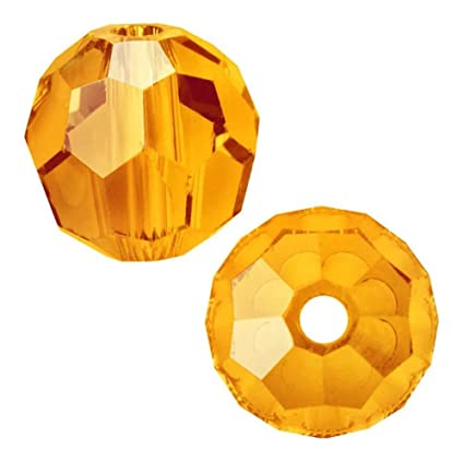 Sun orange crystals Czech Glass Machine Cut Faceted Round Crystal Beads