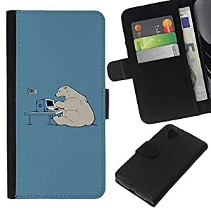 // PHONE CASE GIFT // Moda Estuche Funda de Cuero Billetera Tarjeta de crédito dinero bolsa Cubierta de proteccion Caso LG Nexus 5 D820 D821 / Hacker Polar Bear Funny /