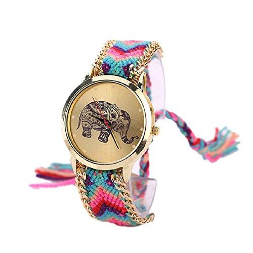 Tongshi-1-PC-Mujeres-de-la-Manera-del-Regalo-del-Modelo-Elefante-Cuerda-Teje-Band-Pulsera-de-Cuarzo-Esfera-de-un-Reloj-AzaulRose