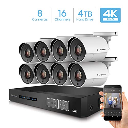 Amcrest UltraHD 4K 16CH Video Home Security Camera System with 8 x 4K (8MP) IP67 Bullet Outdoor Surveillance Cameras, 100ft Night Vision, Pre-Installed 4TB Hard Drive, (AMDV80M16-8B-W-4TB)
