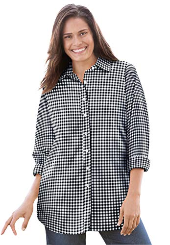 Woman Within Women's Plus Size Perfect Long-Sleeve Button Down Shirt