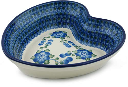 - Polish Pottery 8-inch Heart Shaped Bowl made by Ceramika Artystyczna (Blue Poppies Theme) + Certificate of Authenticity